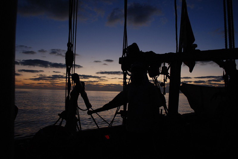 Evening at the helm