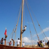 126   Then the mast stays are attached