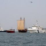 160   Jewel hoists a sail for the final stretch