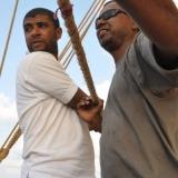 117   Yahya Al Faraji and First Mate Khamis Al Hamdani work the sheet