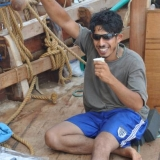 142   Sajid Valappil enjoys his morning coffee at the helm