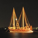 186   Jewel of Muscat lit up at anchor in Cochin