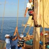 076   Sajid Valappil begins climbing the mast