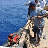 034   First Mate Khamis Al Hamdani directs a man-overboard drill