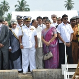 060   Sri Lankan and Omani dignitaries watch as Jewel pulls up to the pier