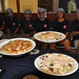 019   Crew members anticipate breakfast at the departure ceremonies
