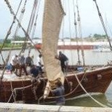 083   Working on the Jewel's palm leaf mat sails