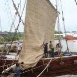 088   Working on the Jewel's palm leaf mat sails