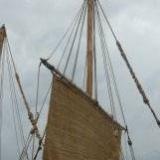 089   Working on the Jewel's palm leaf mat sails