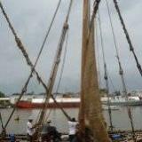 090   Working on the Jewel's palm leaf mat sails