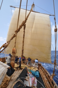 Lowering the mizzen sail in high wind is a tough job