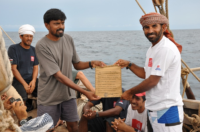 Captain Saleh thanks Mylai Prabhakar for his valuable service aboard the Jewel of Muscat