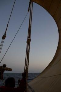 A sail under pressure